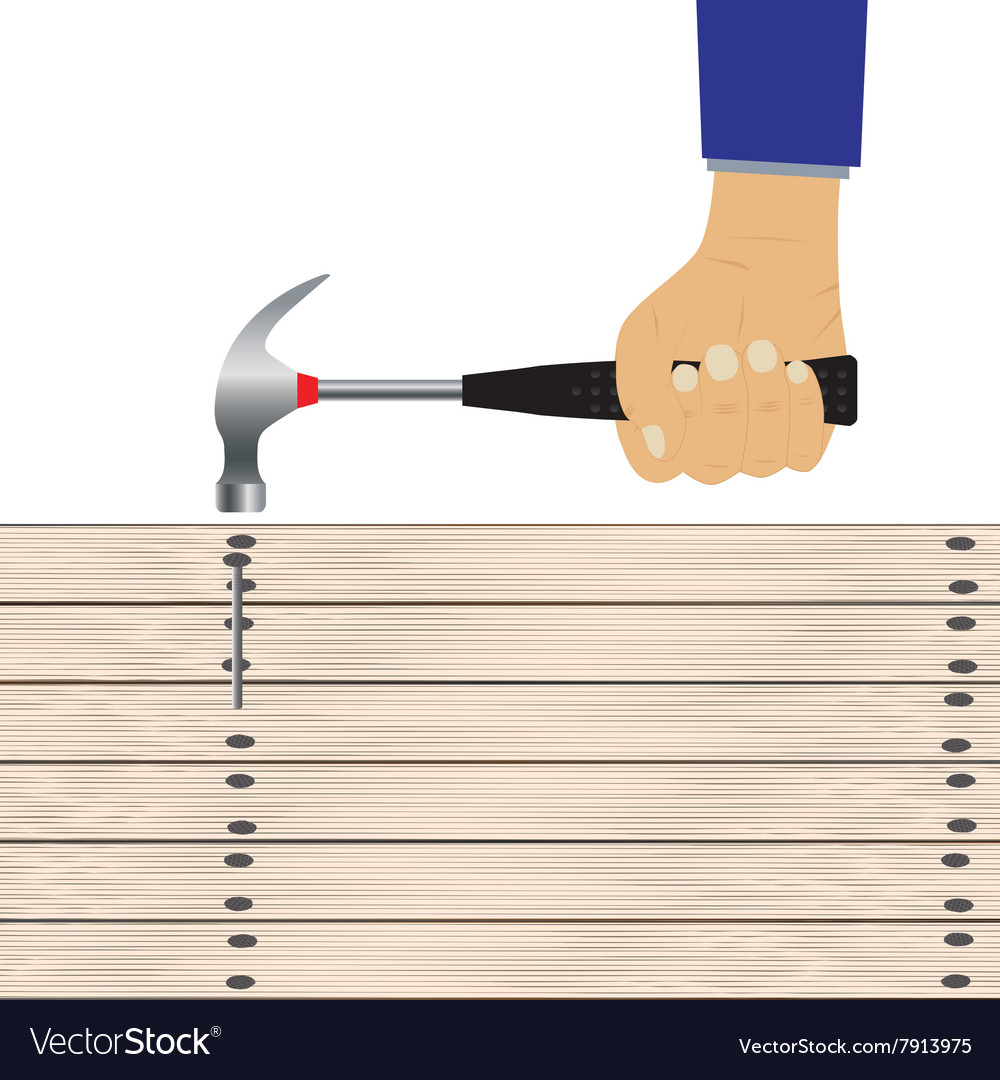 Hand with a hammer and wooden board