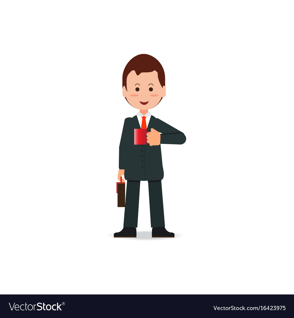 Happy businessman in suit with briefcase holding