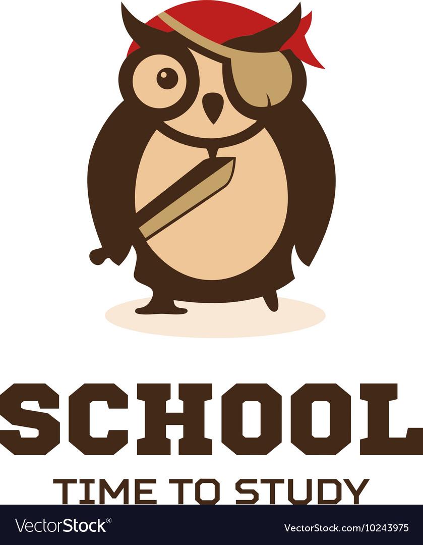 Isolated wise owl logo School logotype
