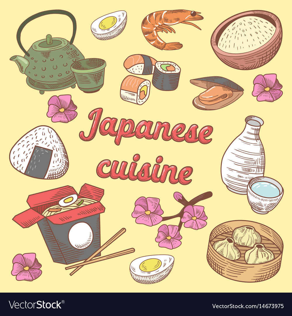 Japanese cuisine food hand drawn doodle