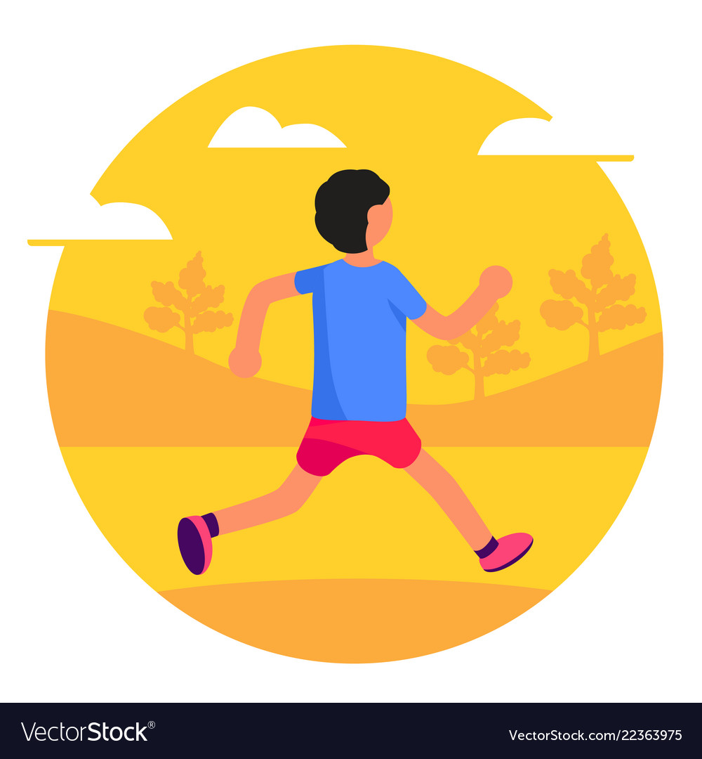 Man running in park forest trees and hills on