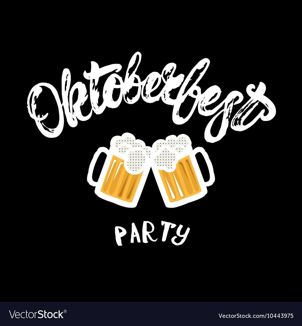 Oktoberfest party hand written lettering poster