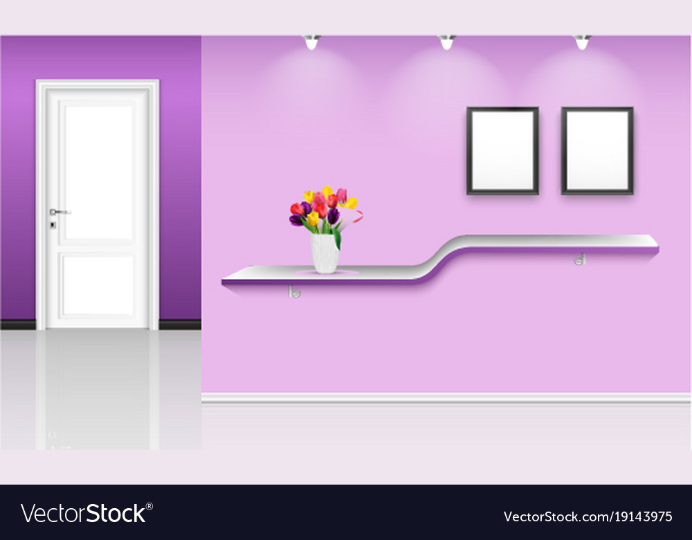 Purple wall background with frames and flowers pot
