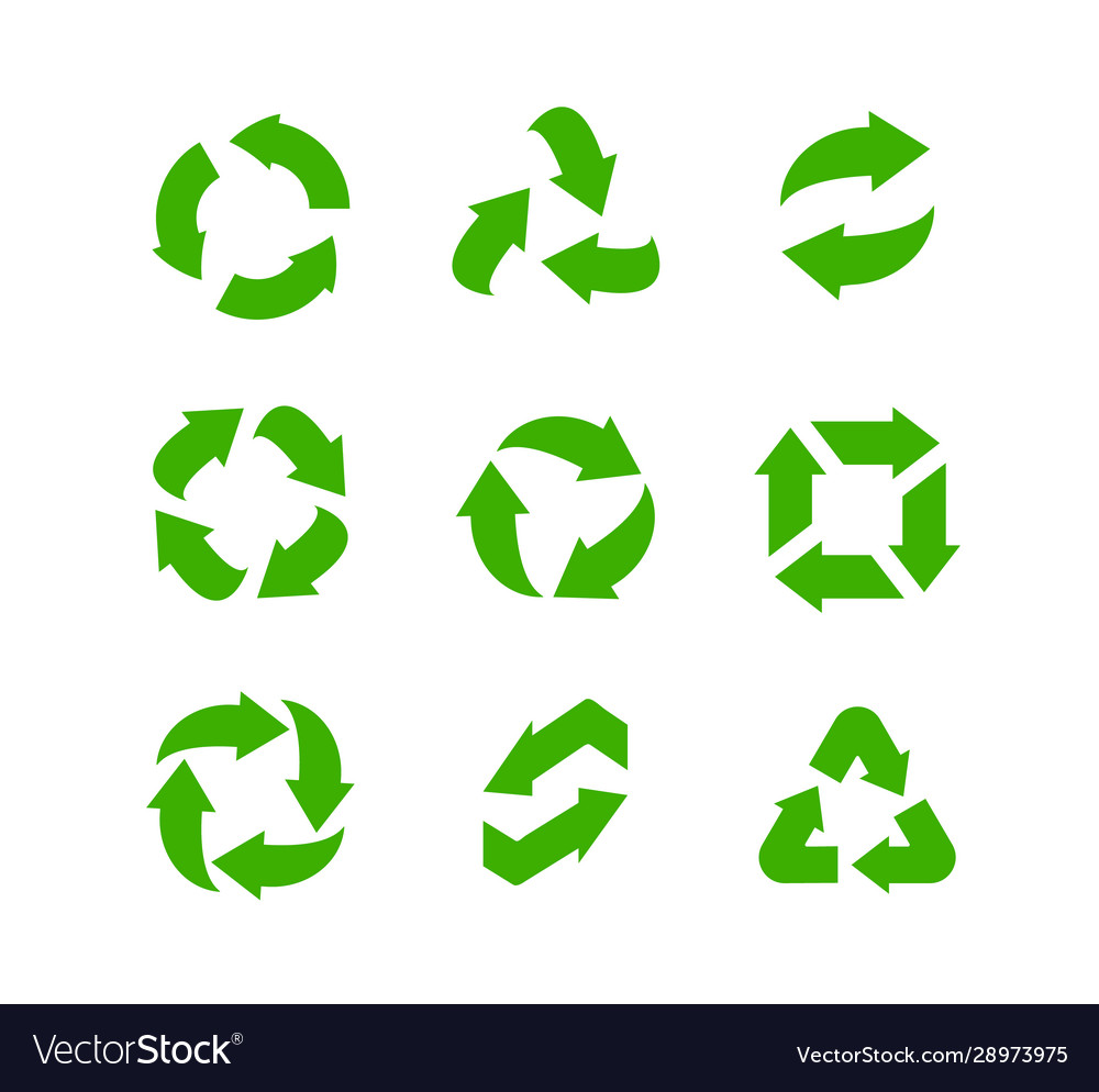 Recycle icons set green arrows green safe
