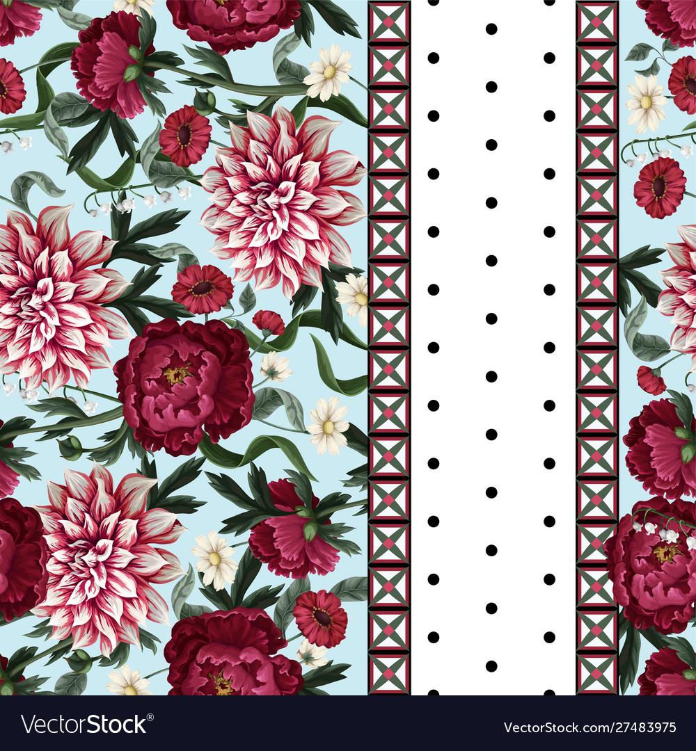 Seamless pattern with dahlia peonies wild