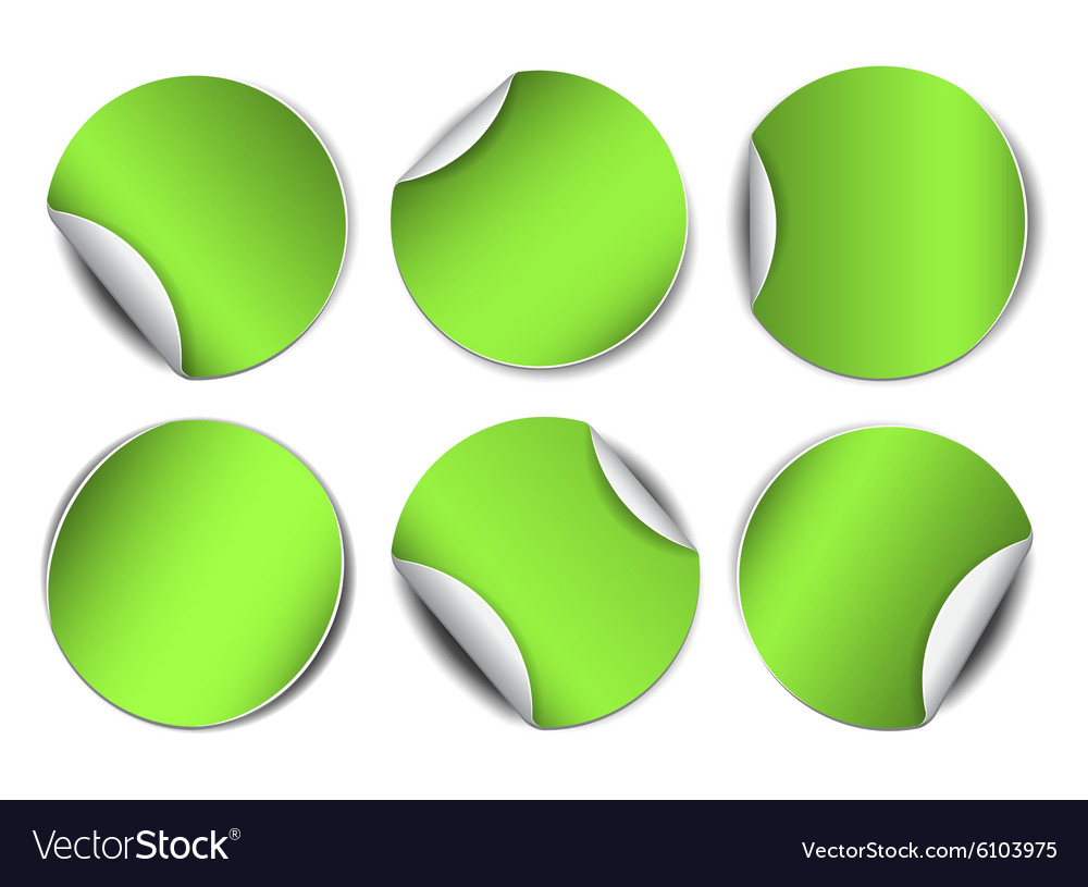 Set of green round promotional stickers