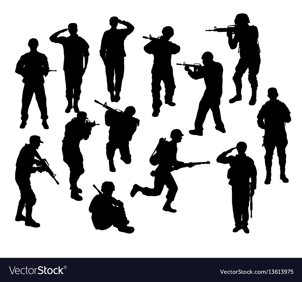 soldier silhouettes royalty free vector image vectorstock