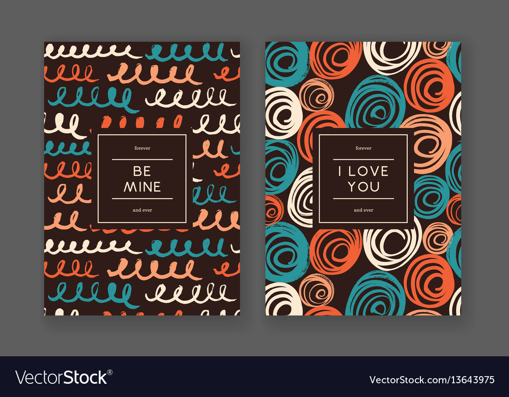 Trendy freehand love cards vector image