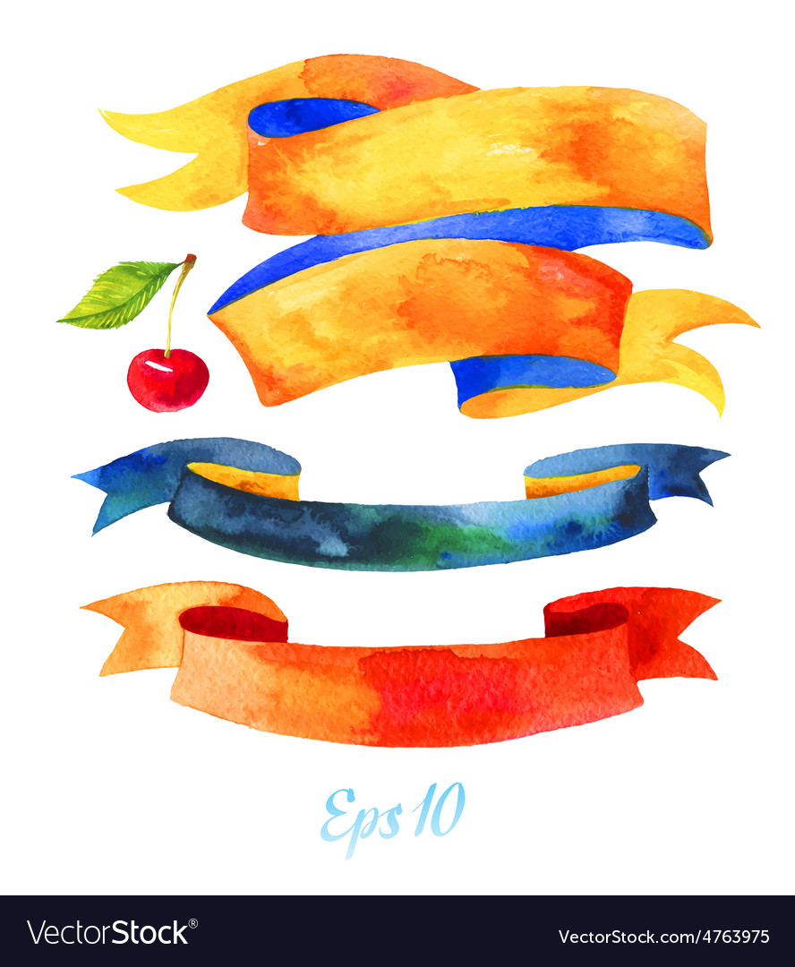 Watercolors ribbons and banners for text vector image