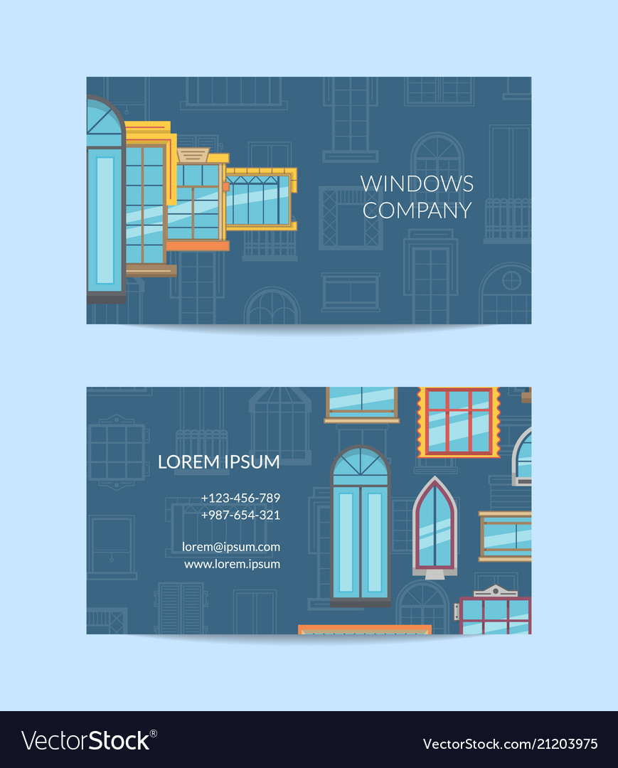 Window flat icons business card