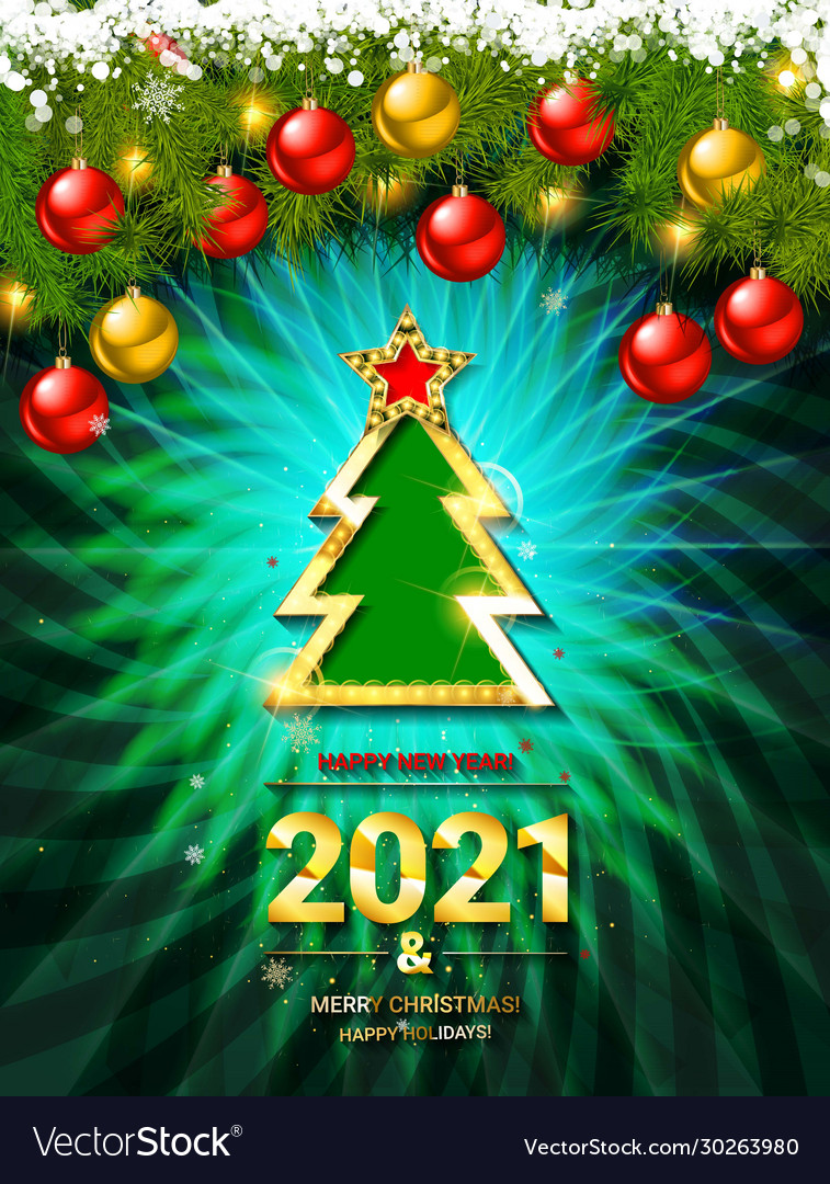 Free Christmas Pictures 2021 2021 Gold Card Merry Christmas Banner Royalty Free Vector