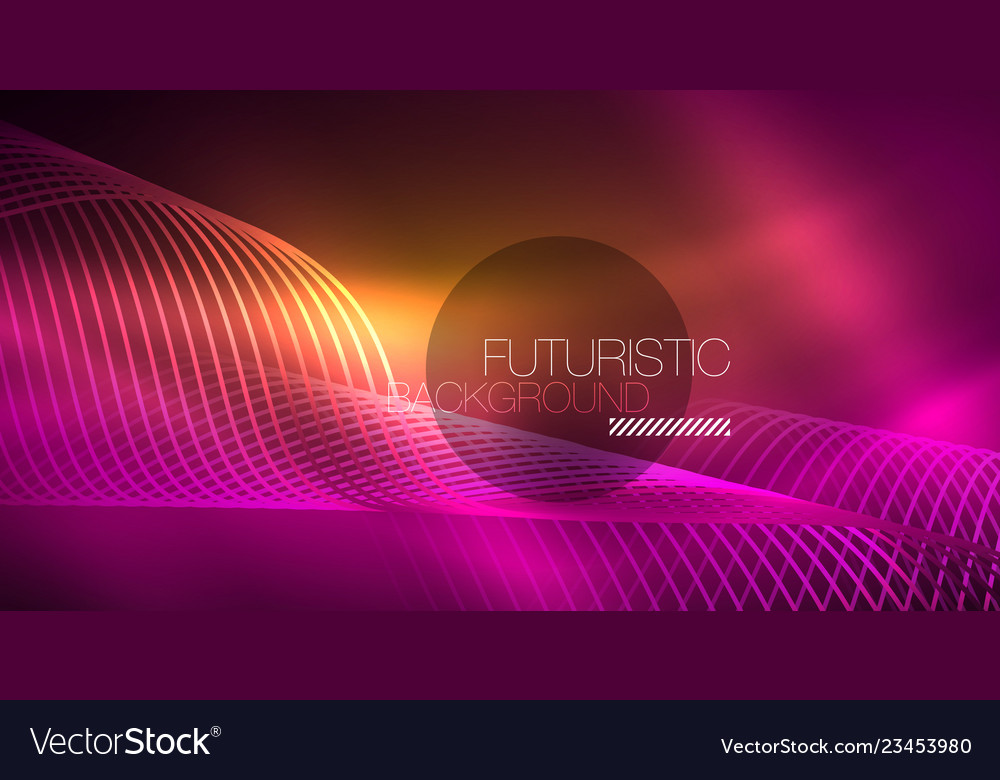 Abstract shiny glowinng color wave design element