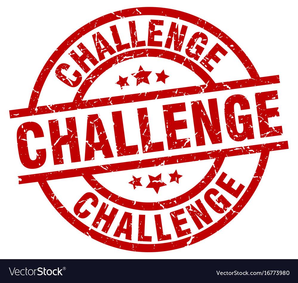 Challenge round red grunge stamp vector image