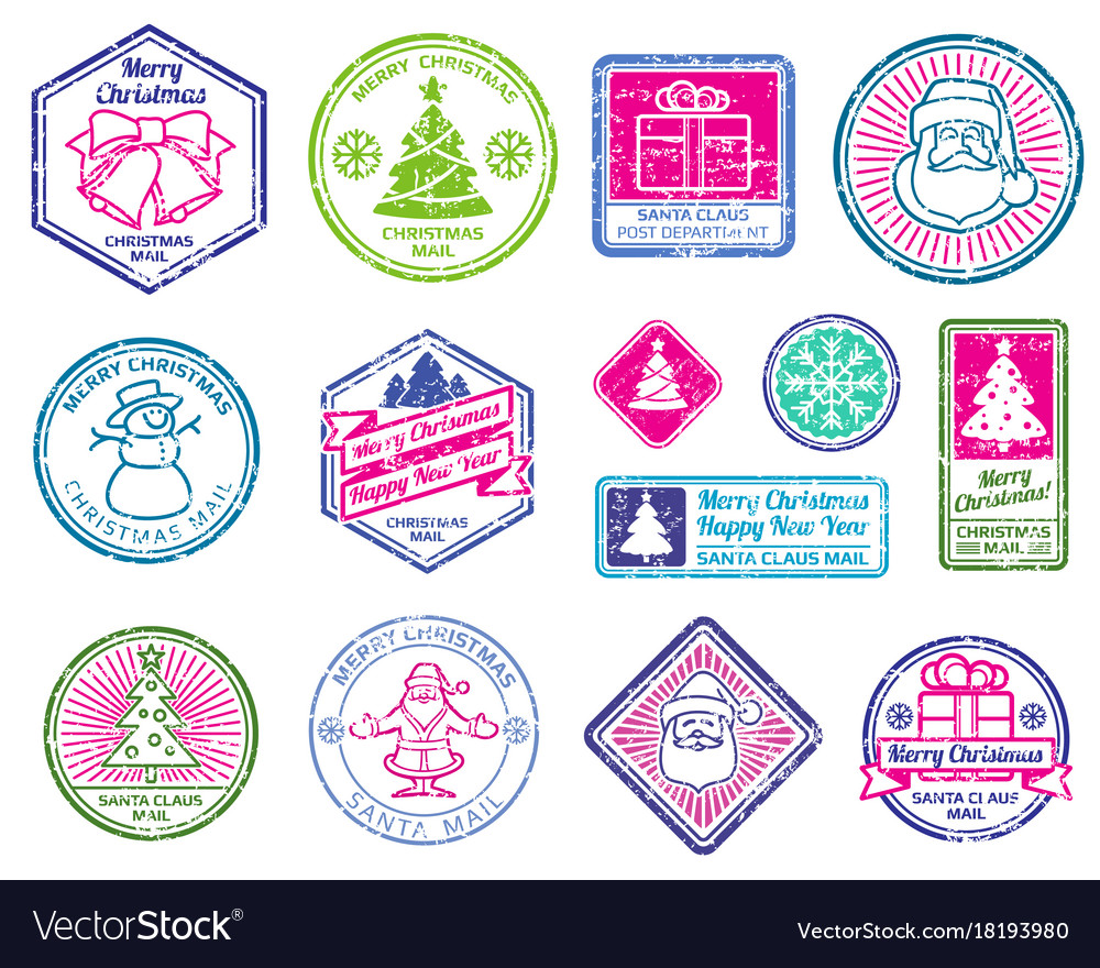Christmas Stamps.Christmas Santa Postage Letter Stamps Winter
