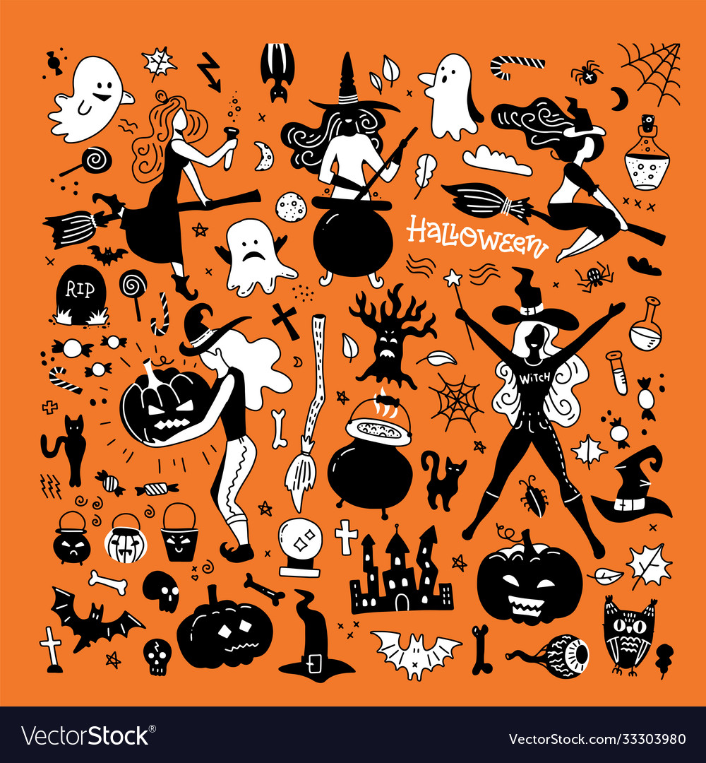 Halloween silhouettes witch pumpkin black cat and