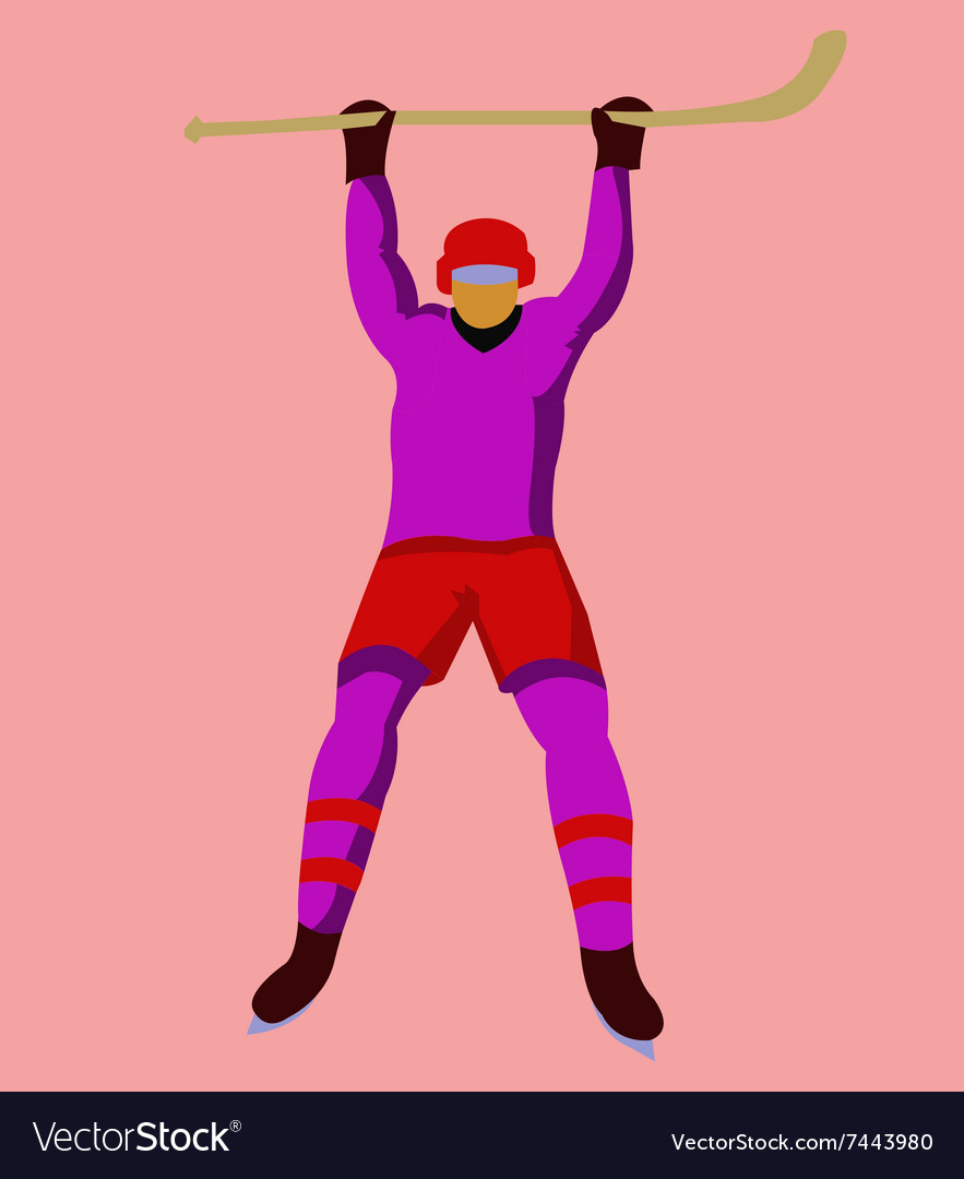 Hockey Player with a hockey stick and skates