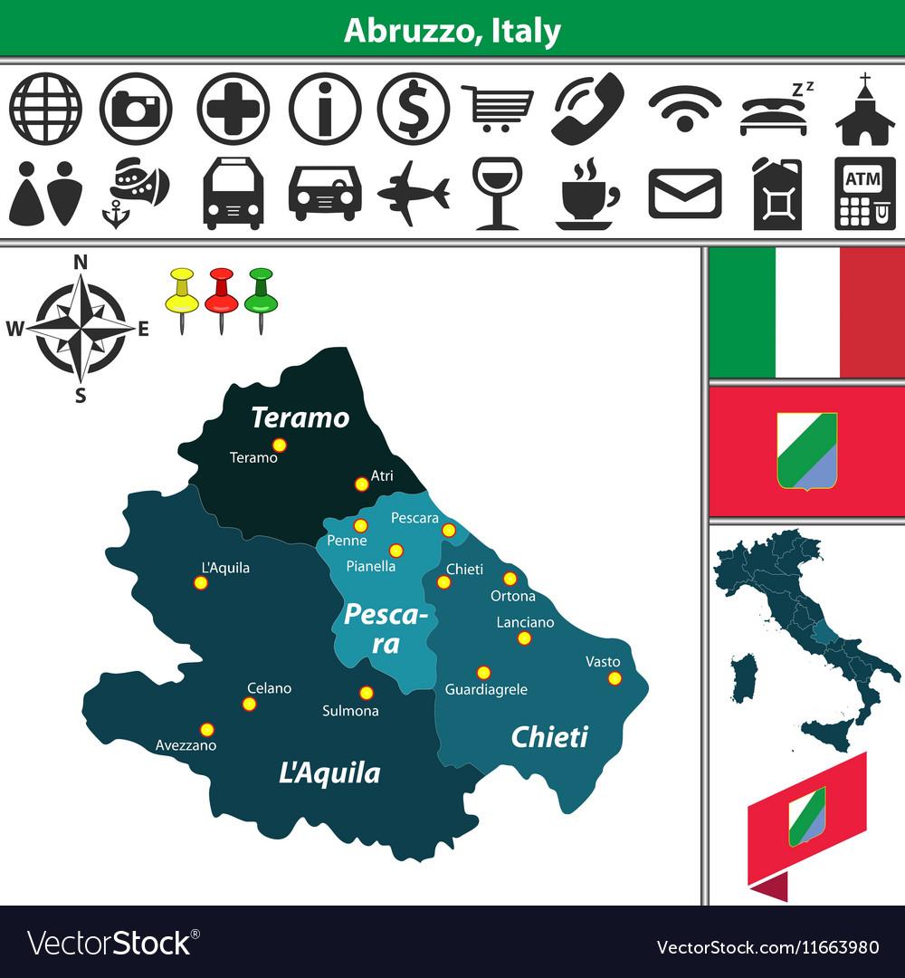 Map of Abruzzo Royalty Free Vector Image - VectorStock