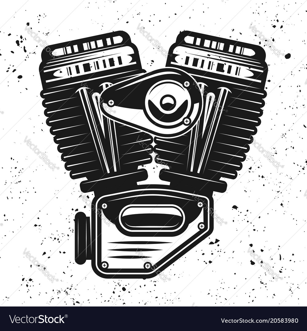 Motorcycle Engine V Twin Motor Object Vector Image