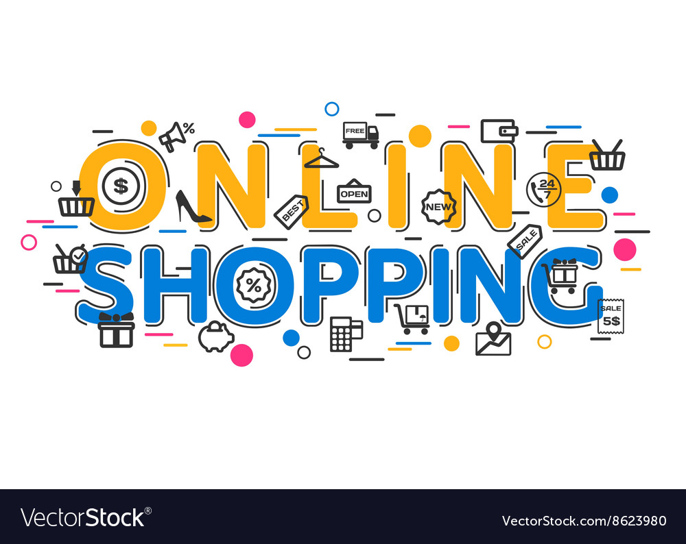 Online Shopping Concept with icons and