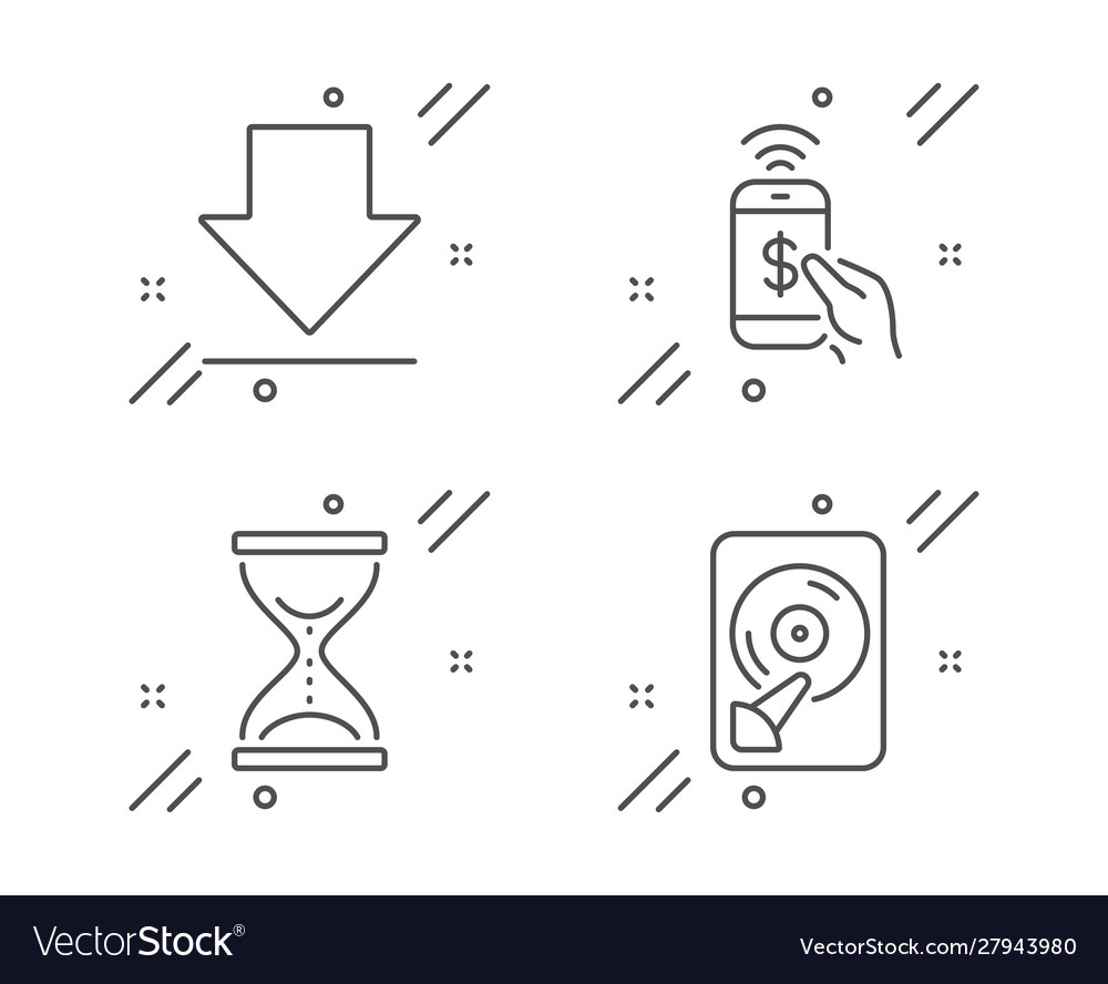 Phone payment downloading and time hourglass