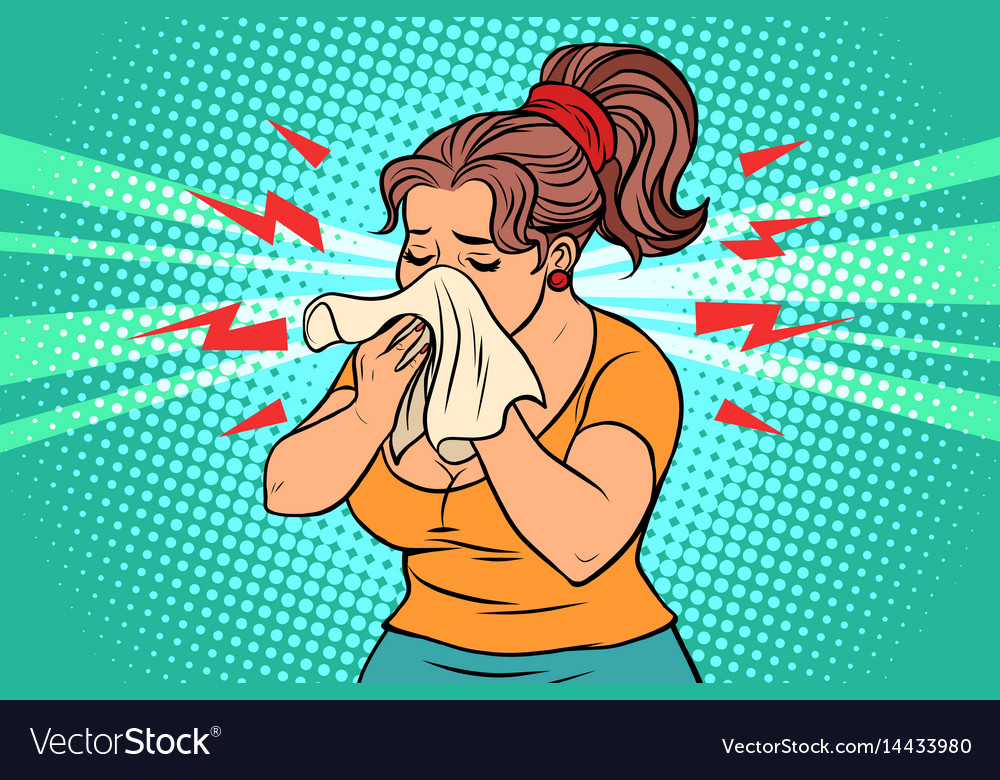 The woman is sick runny nose and handkerchief vector image