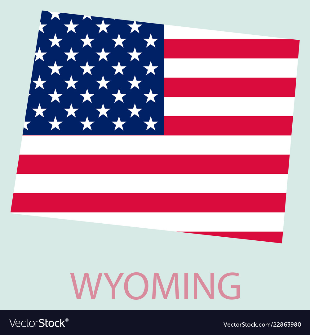 Wyoming state of america with map flag print on Vector Image