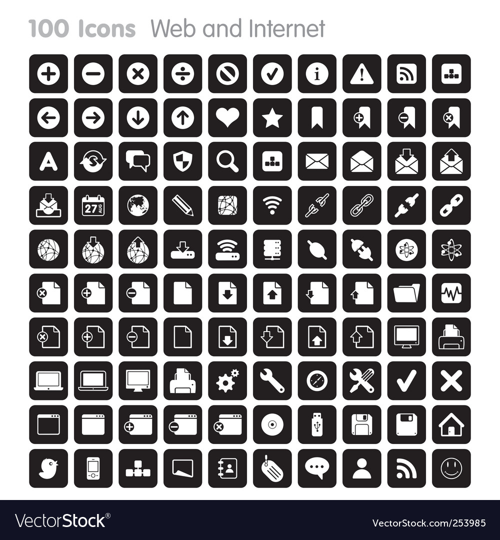 100 icons web and internet