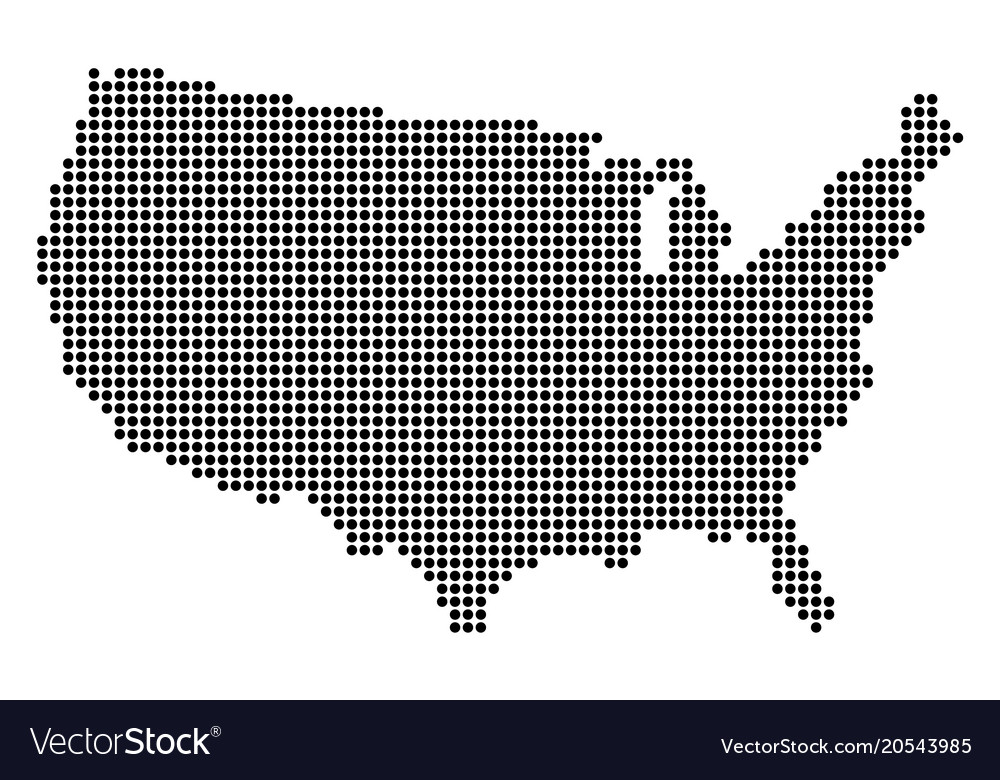 Map Of Usa Vector.Dotted Pixel Usa Map Royalty Free Vector Image