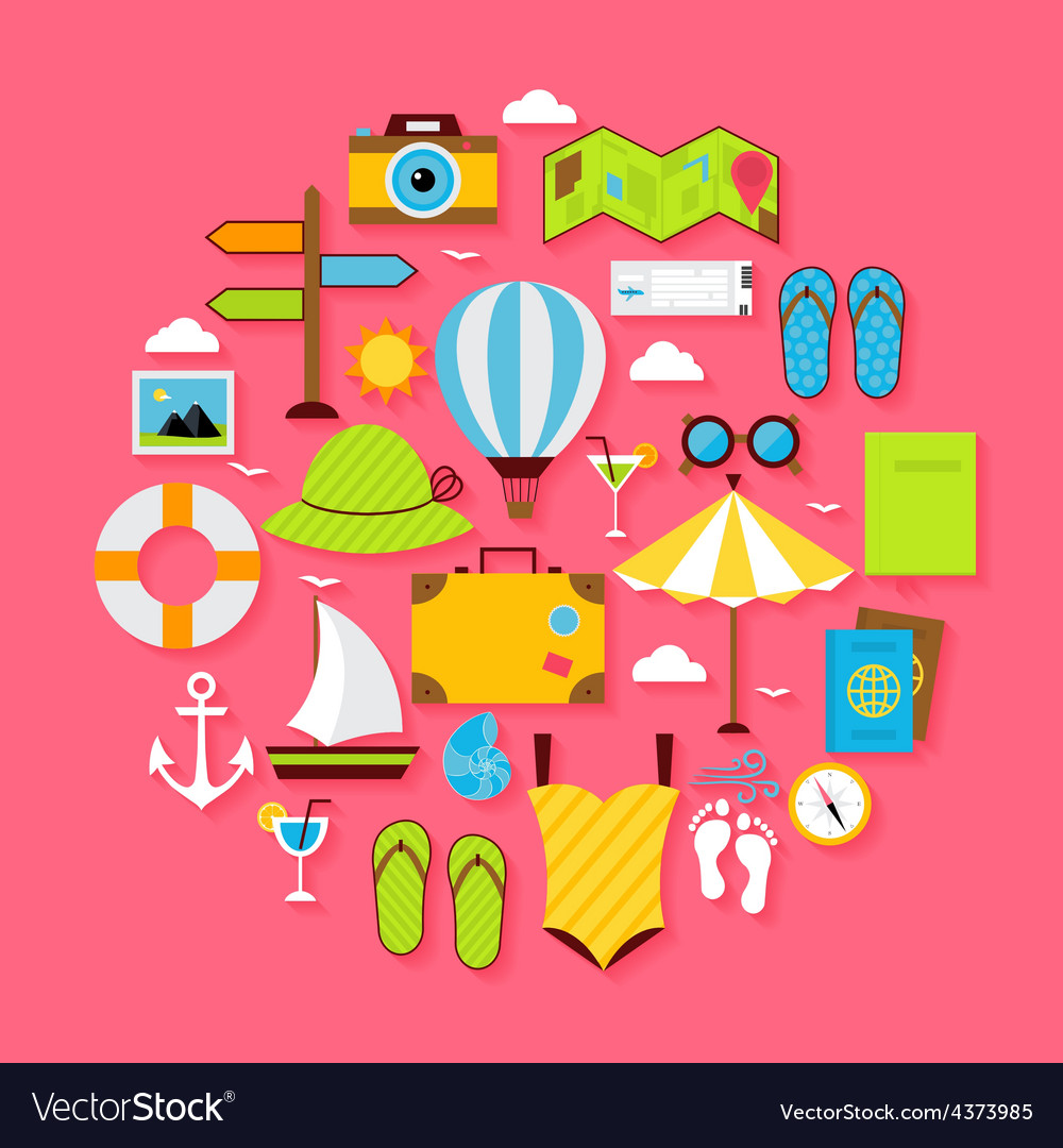 Flat Summer Holiday Objects Set