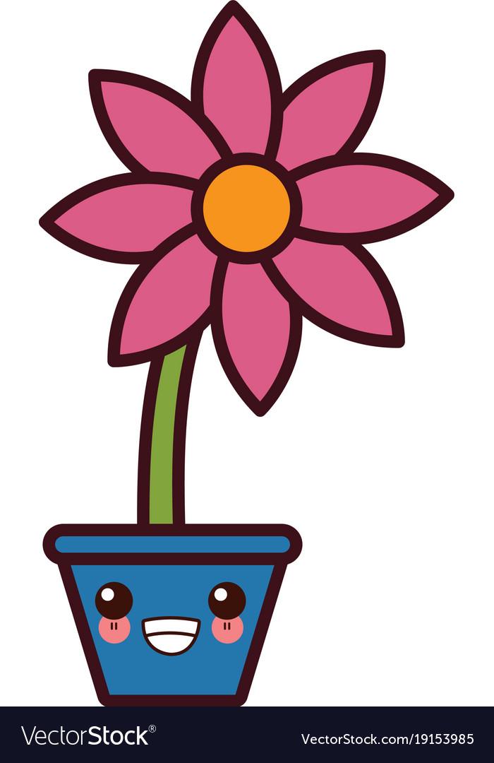 Flower In Vase Kawaii Cute Cartoon Royalty Free Vector Image