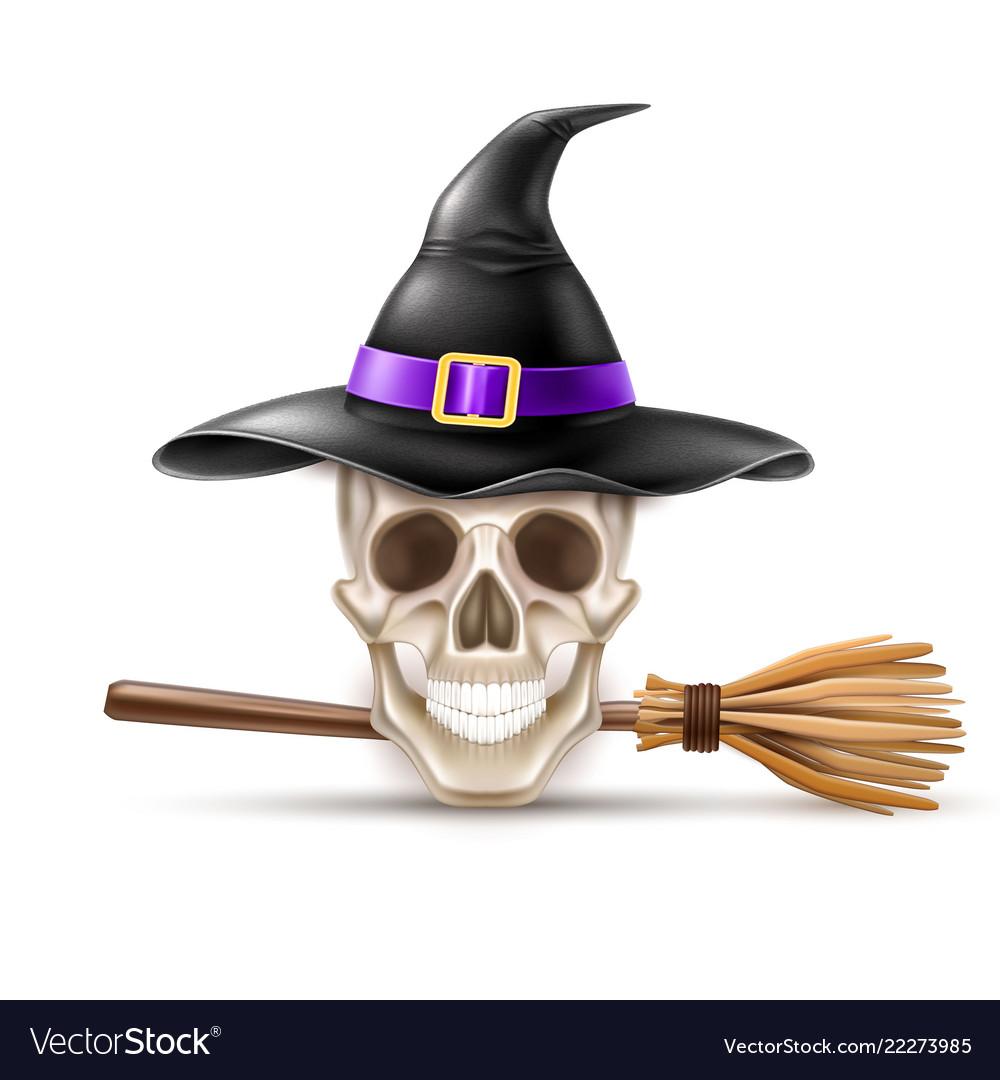 Happy halloween elements witch hat broom