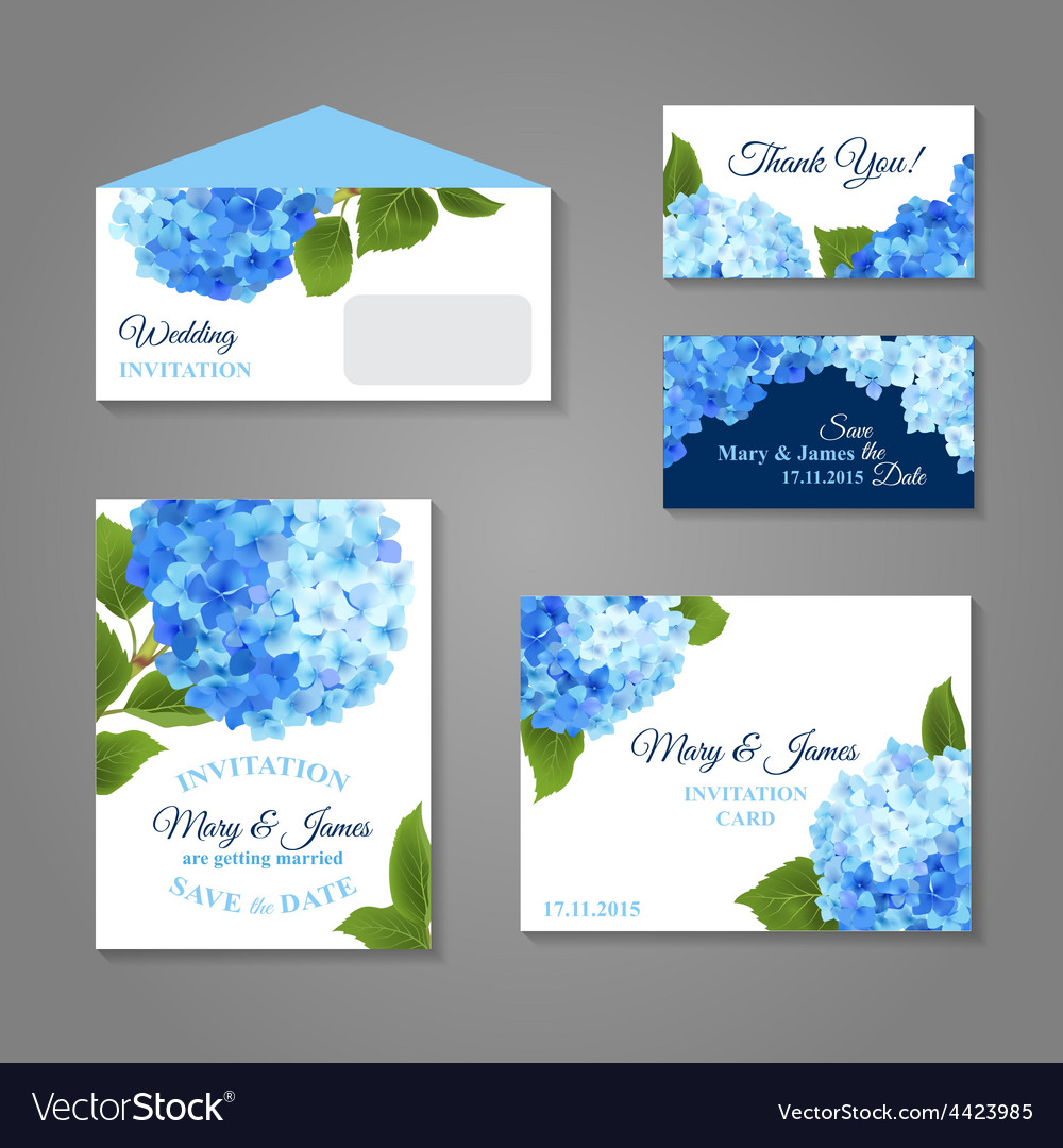 hydrangea invitations set royalty free vector image