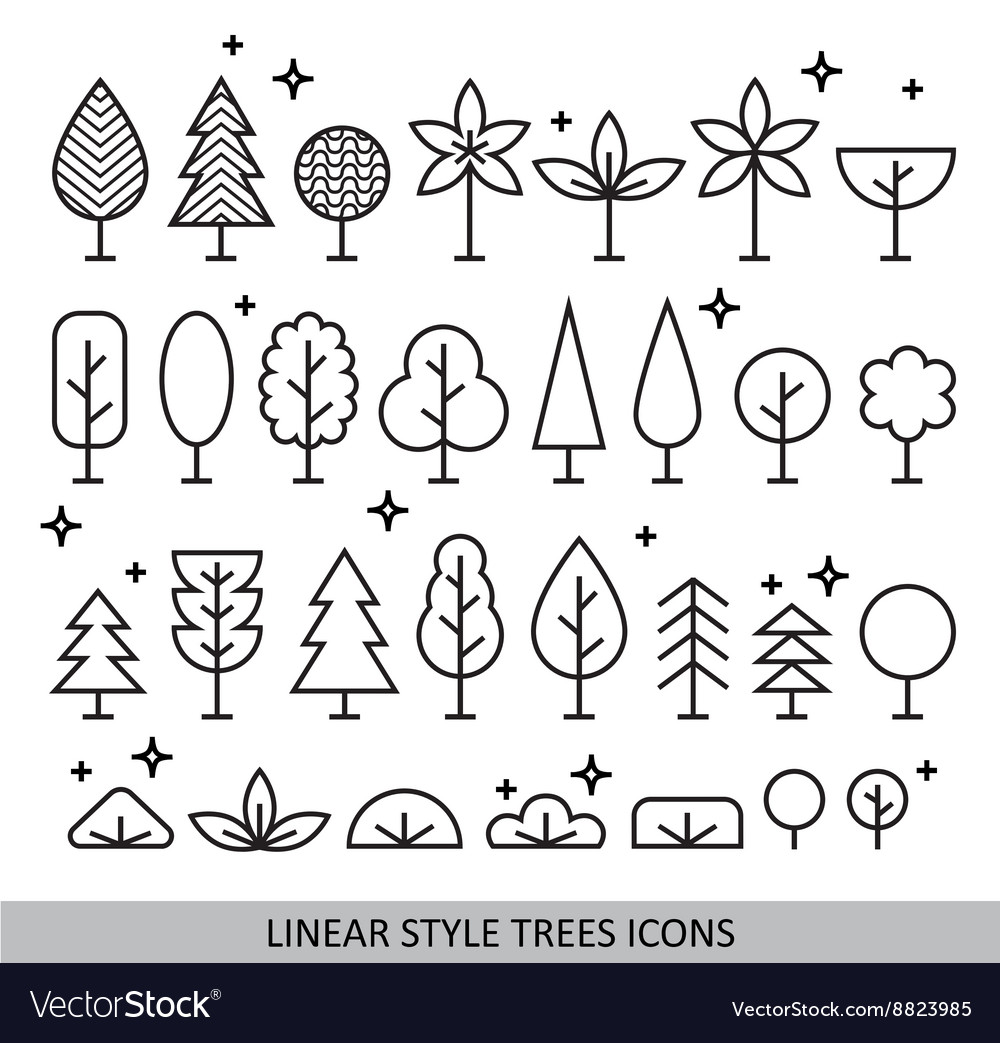 Linear style trees icons