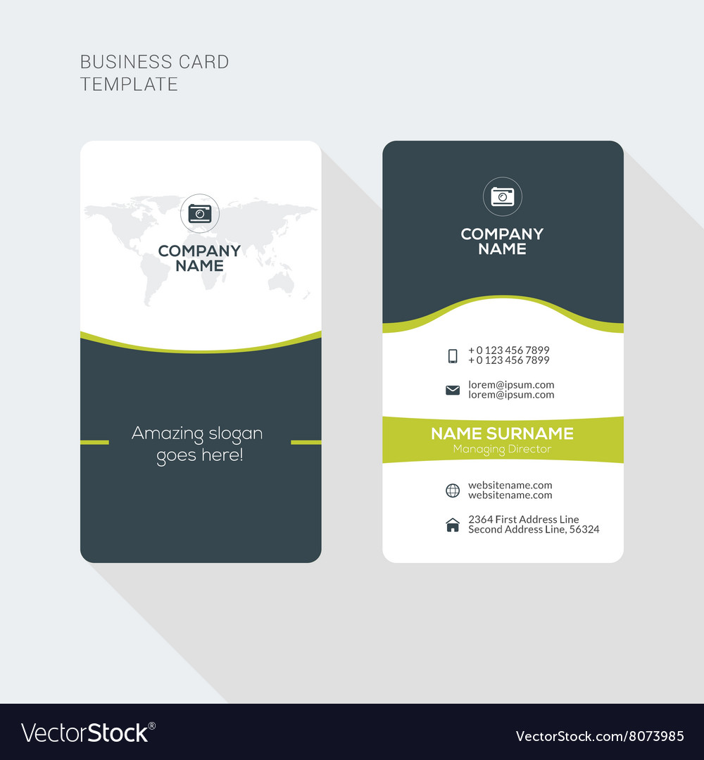 Modern creative and clean two sided business card vector image accmission Images