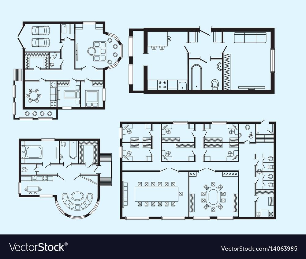 Modern office architectural plan interior