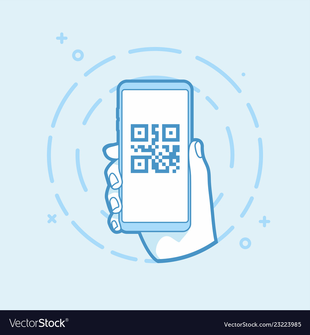 Qr code icon on smartphone screen