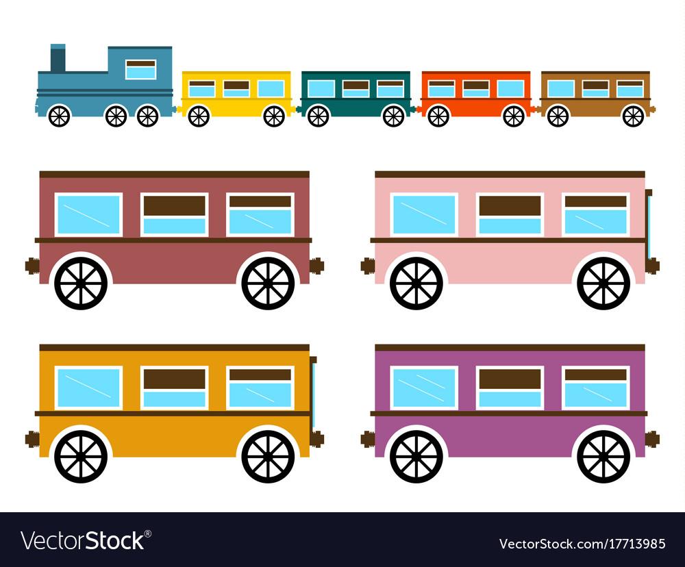 Retro flat design trains isolated on white