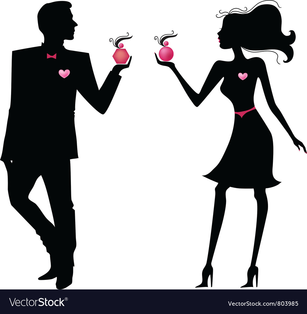 silhouette of man and women royalty free vector image rh vectorstock com vector woman silhouette vector women's shoes