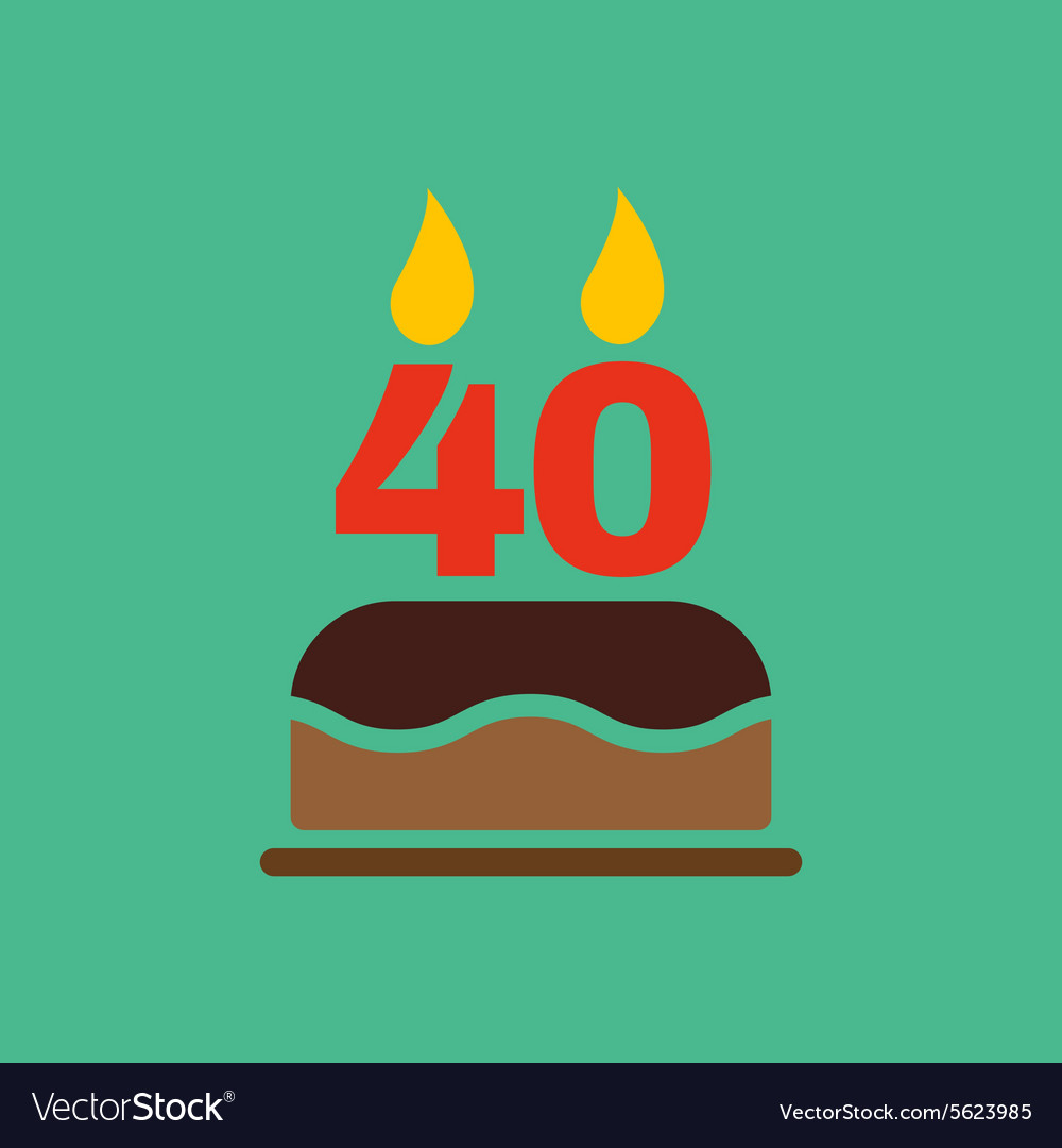 The Birthday Cake With Candles In Form Of Vector Image