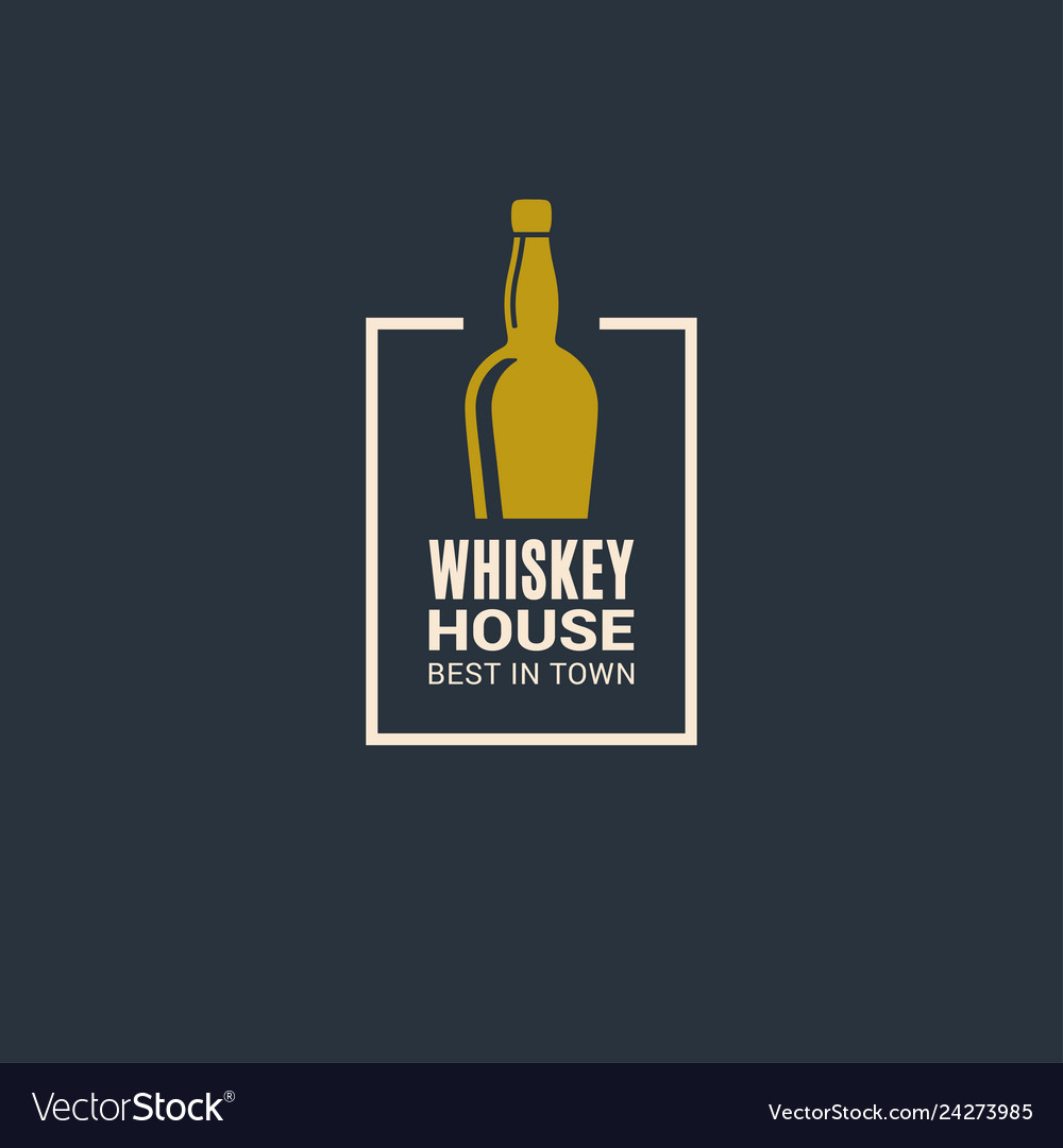 Whiskey bottle logo whiskey house icon on blue
