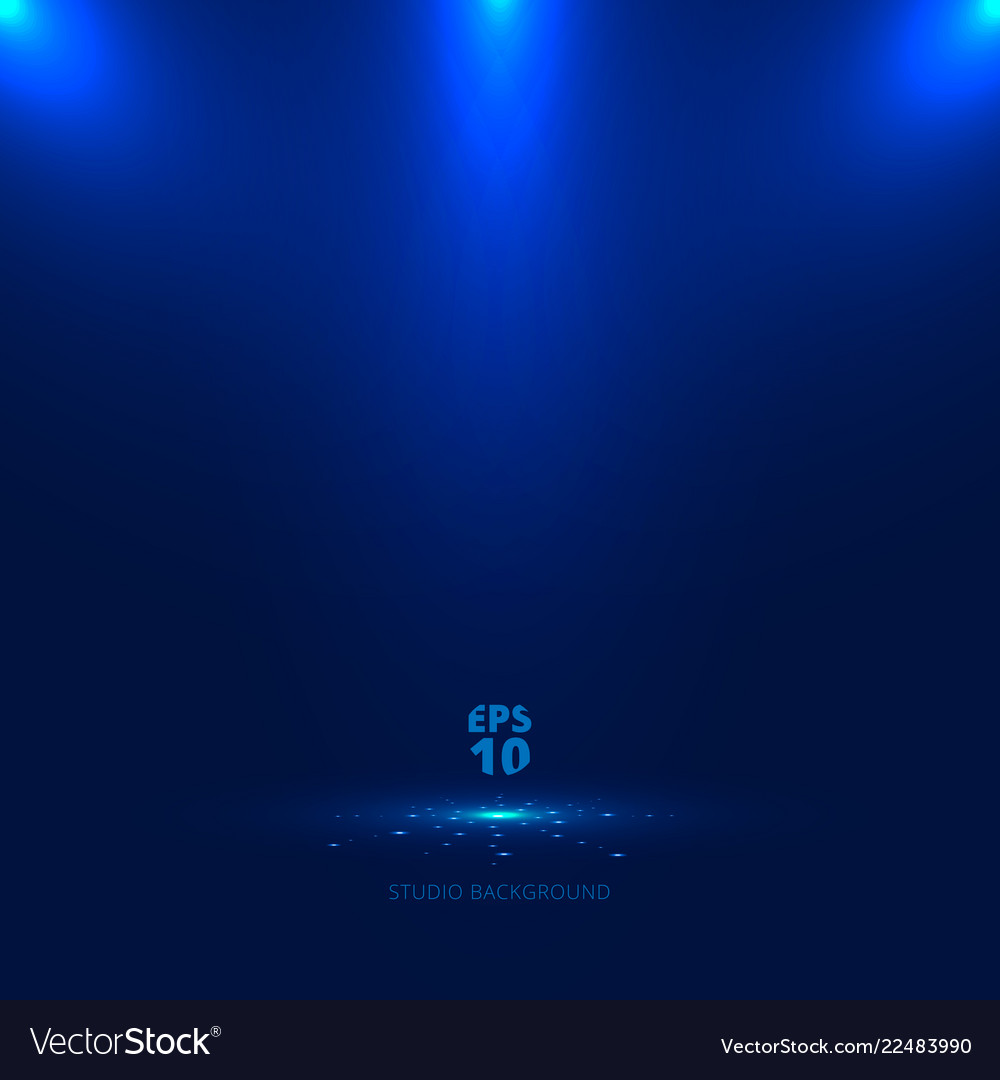 Blue stage background with light rays of