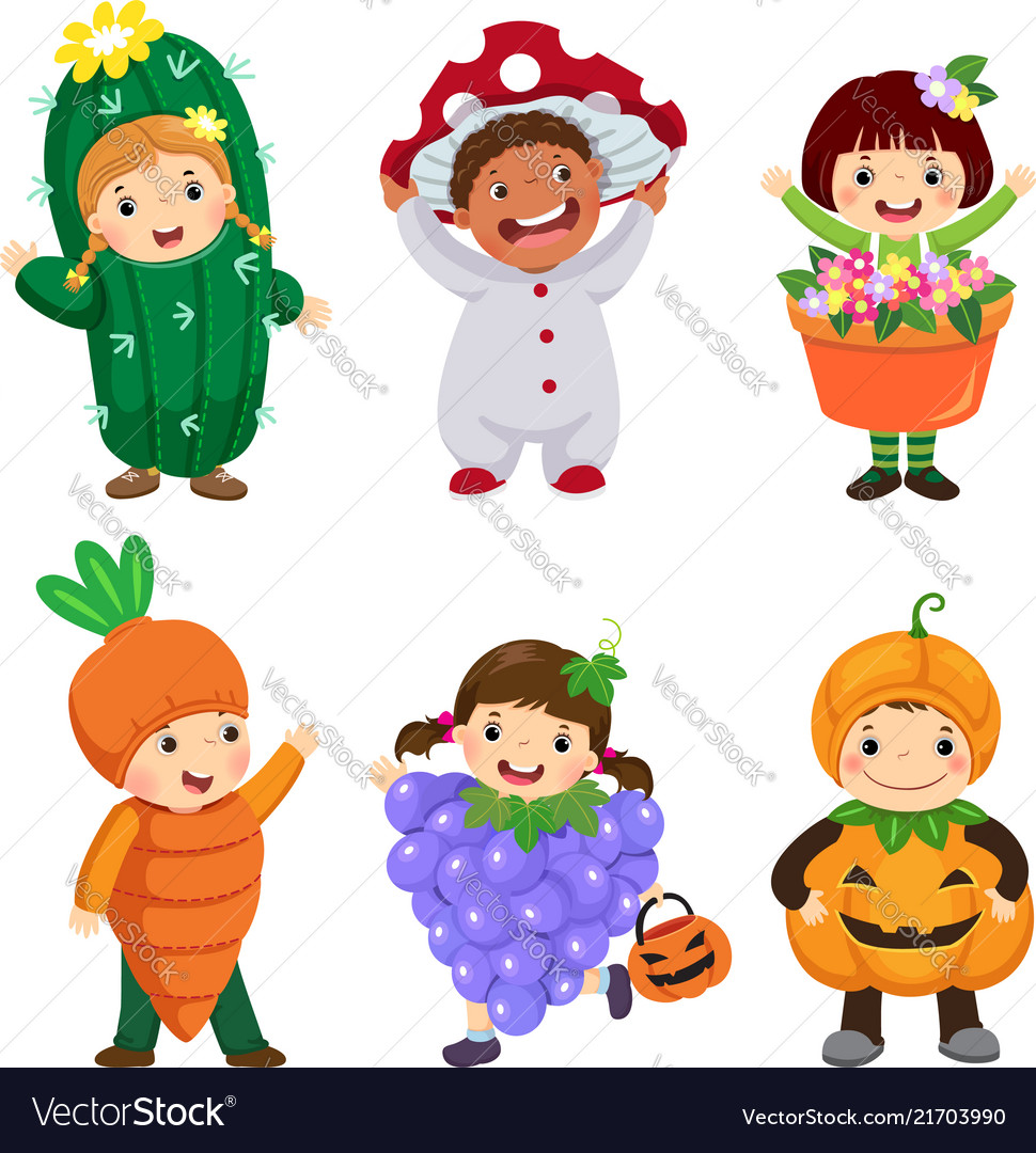Cartoon of cute kids in plant costumes set
