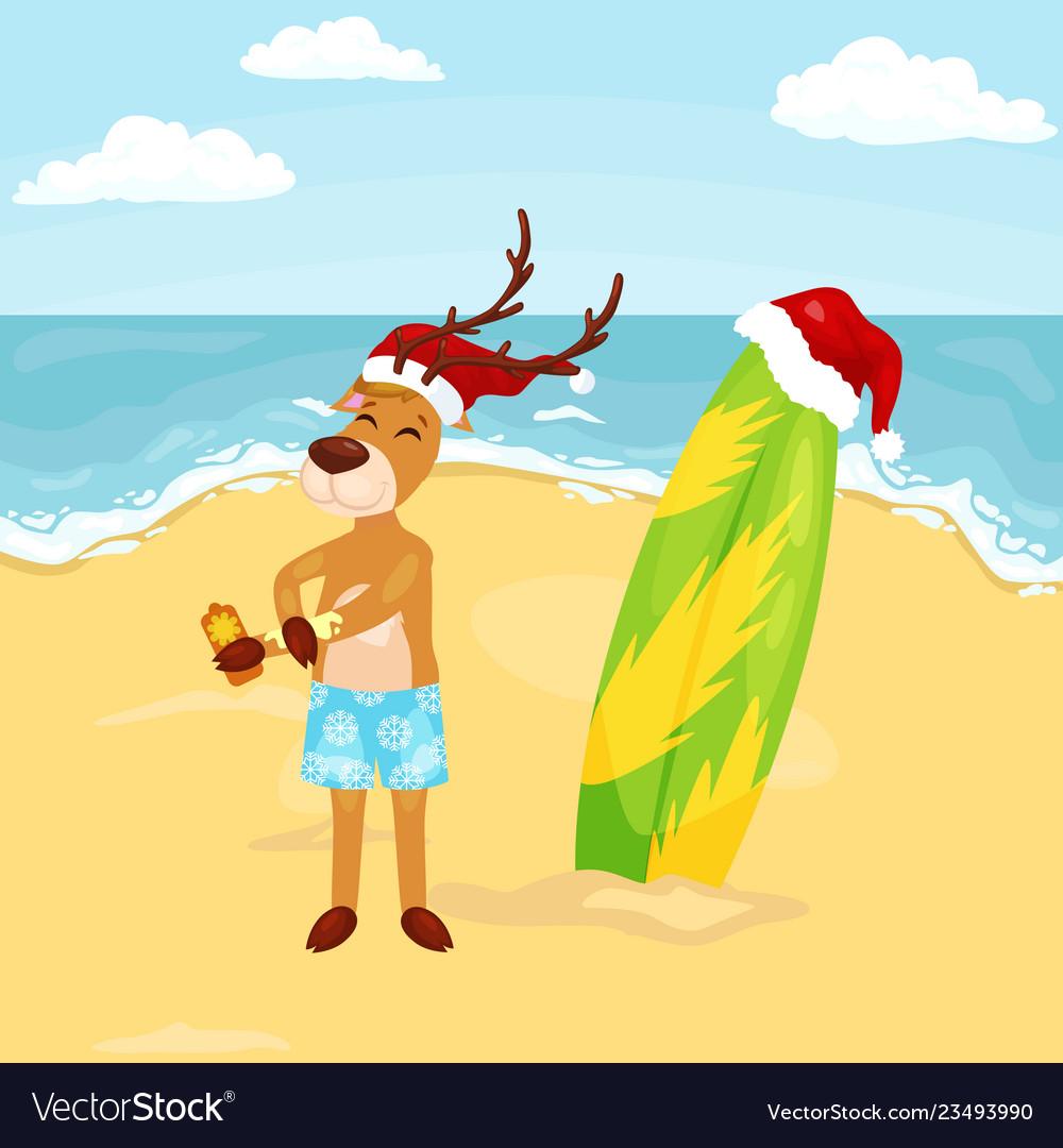 Cartoon reindeer putting on sun block before