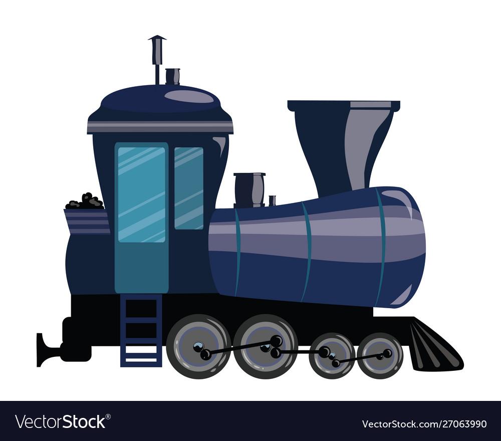 Cartoon train a railway