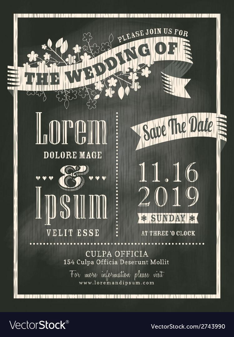 Chalkboard Wedding Invitation card background vector image