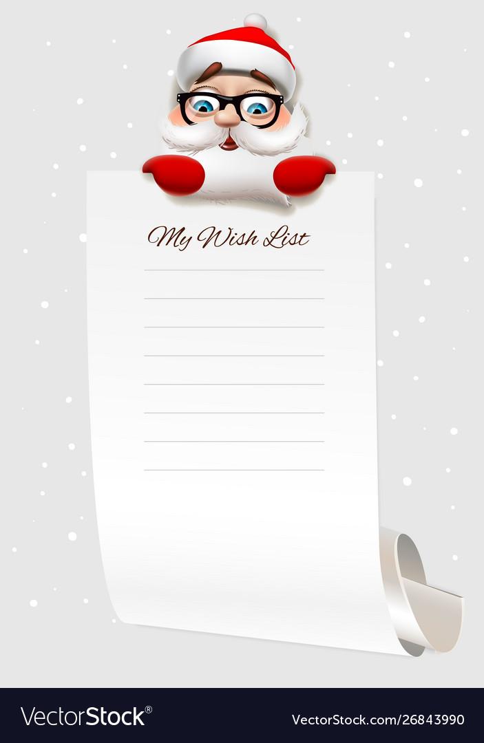Christmas Wish.Christmas Wish List Santa Claus Character Holding