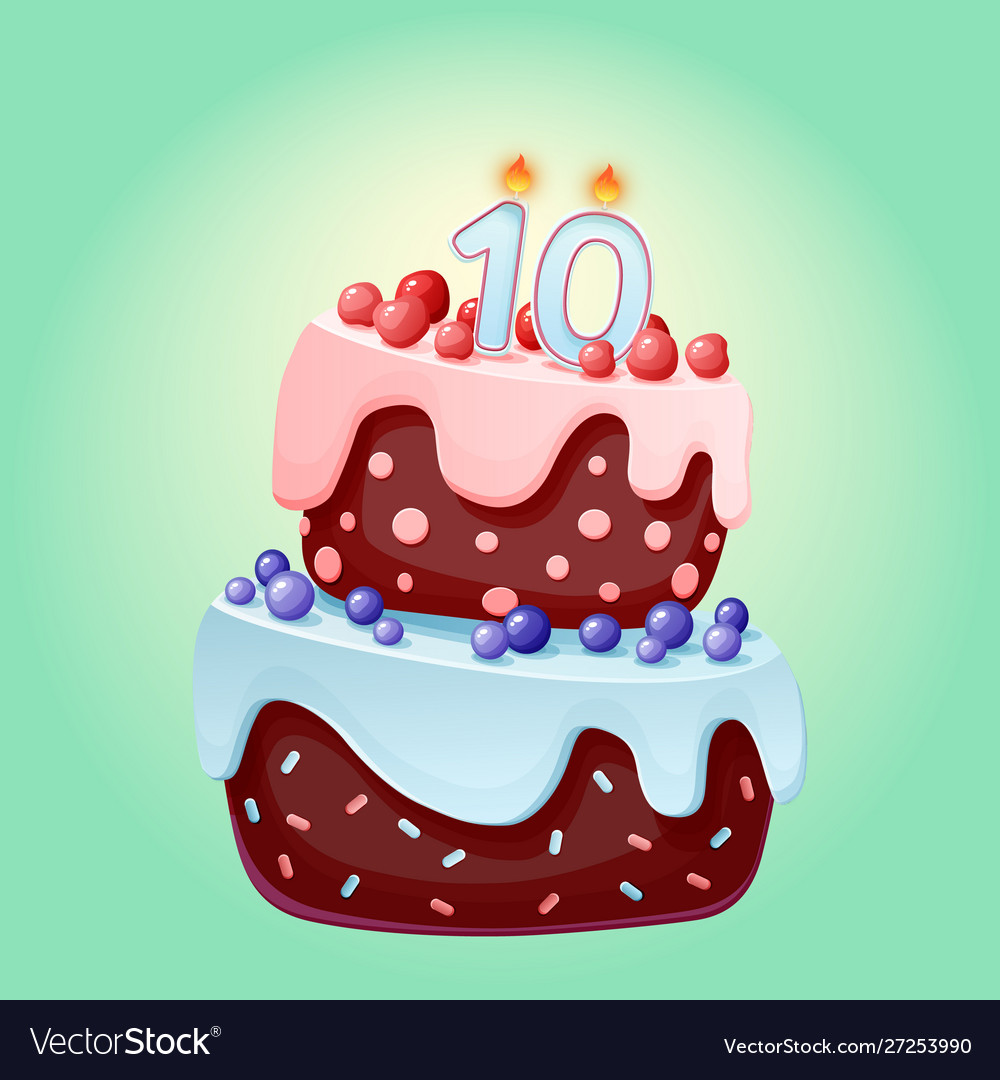 Remarkable Cute Cartoon 10 Year Birthday Festive Cake With Vector Image Funny Birthday Cards Online Ioscodamsfinfo