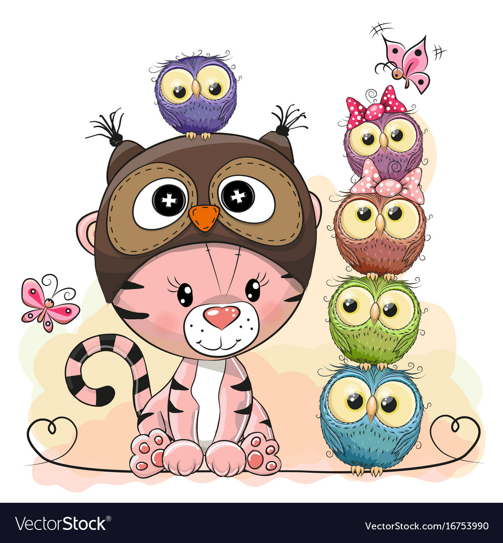 Cute cartoon tiger and five owls