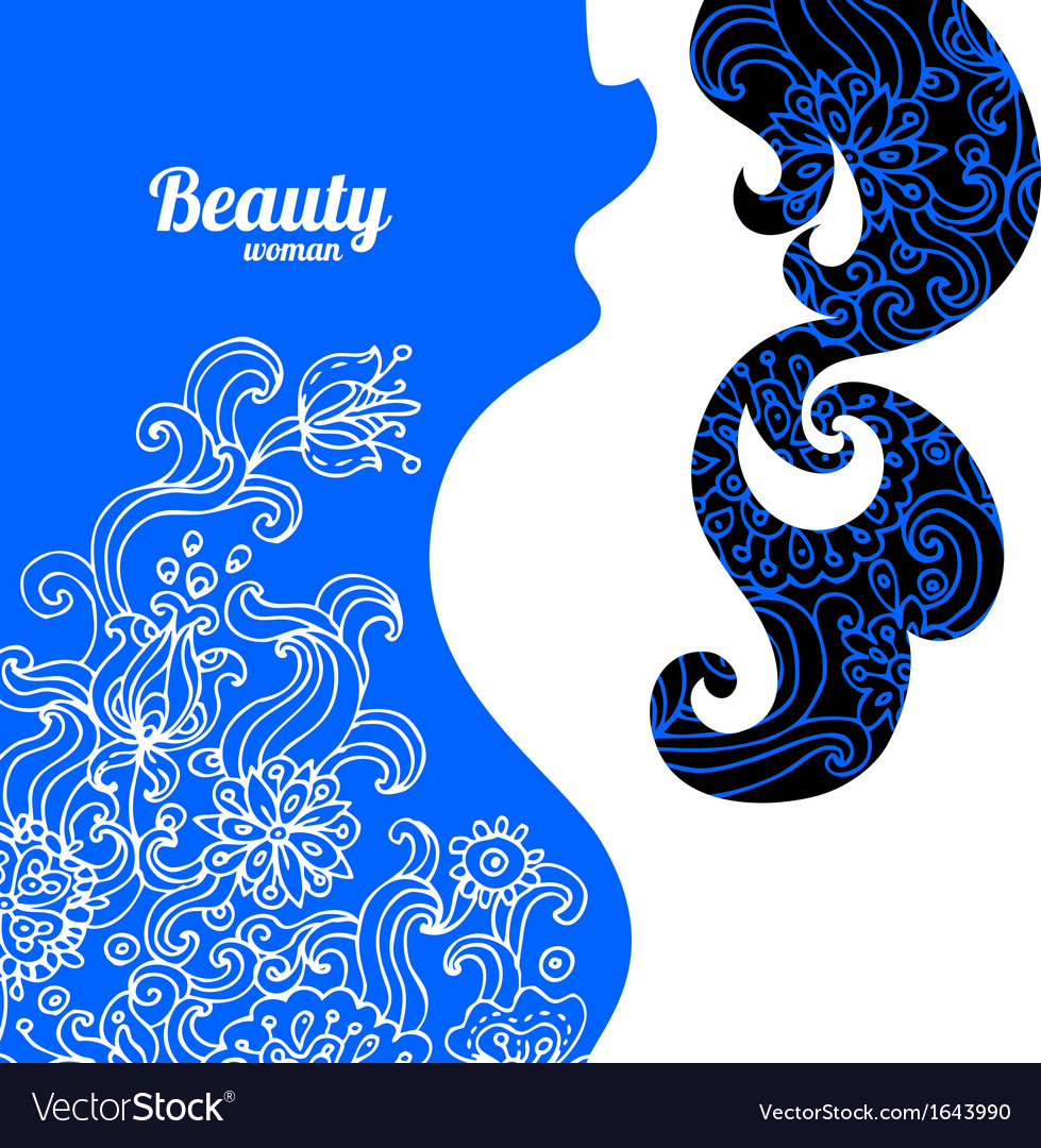 Floral background with pregnant woman silhouette