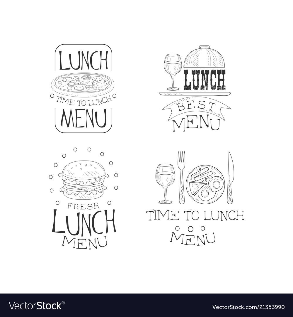 Hand drawn emblems for cafe or restaurant